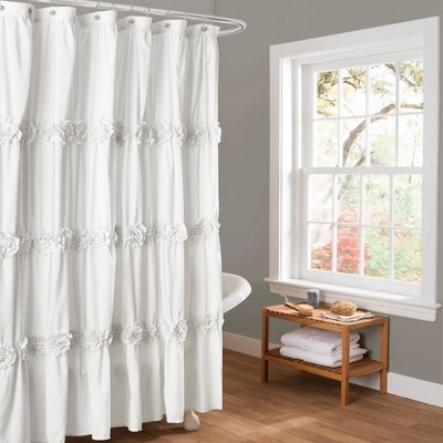 Darla Texture Shower Curtain White - Lush Décor