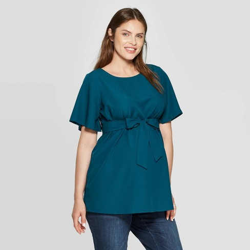Maternity Elbow Sleeve Crepe Blouse - Isabel Maternity by Ingrid & Isabel™ Teal - image 1 of 2