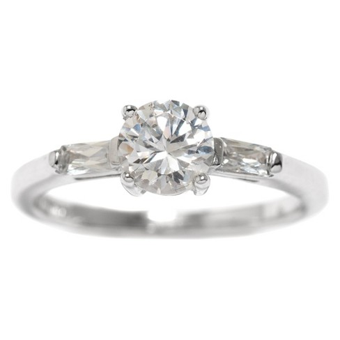 Sterling Silver Cubic Zirconia Engagement Ring - Clear - image 1 of 2