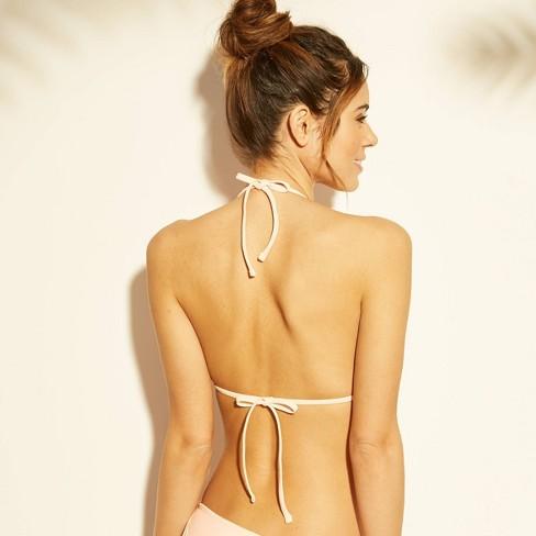 8893328727 Women's Crochet Triangle Bikini Top - Xhilaration™ Blush Pink Stripe XS :  Target