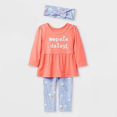 Baby Girls' Headband, Long Sleeve Tunic and Leggings Set - Cat & Jack™ Peach/Blue 18M