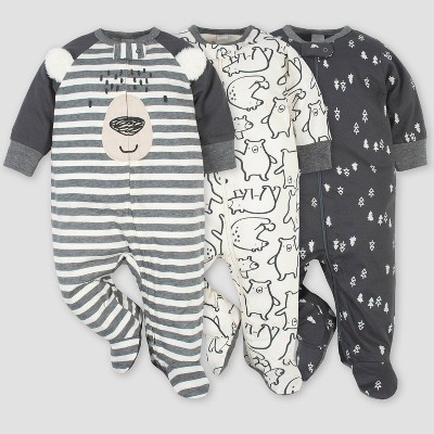 Gerber Baby Boys' 3pk Bear Zip-Front Sleep N' Play - Gray/White 0-3M