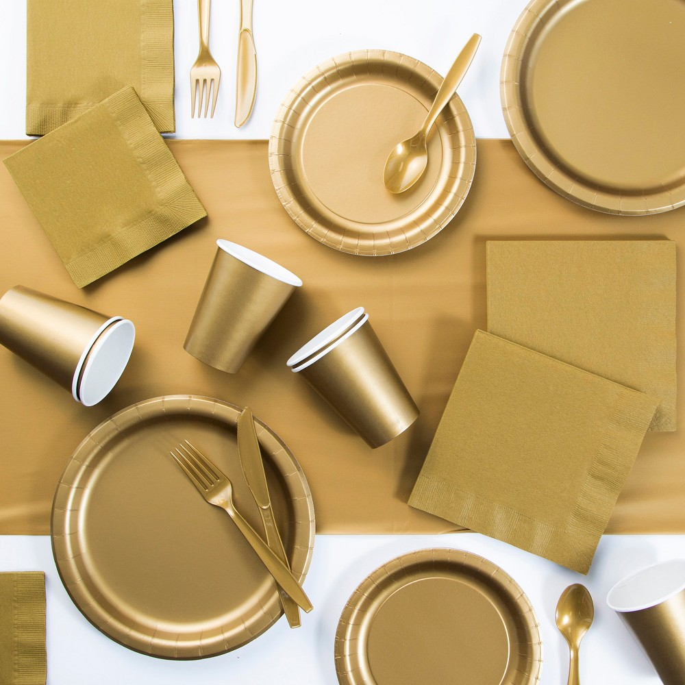 245pk Glittering Party Supplies Kit Gold