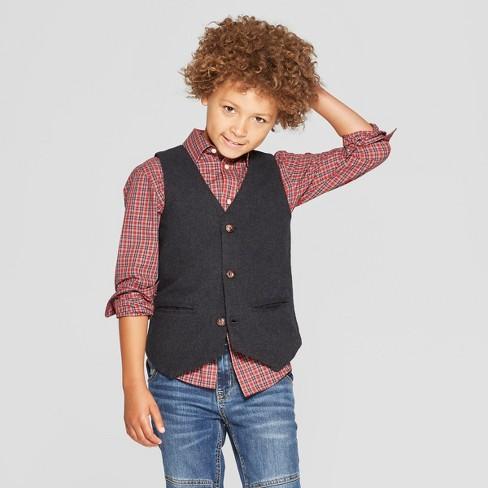 Boys Holiday Suit Vest Cat Jack Charcoal Target