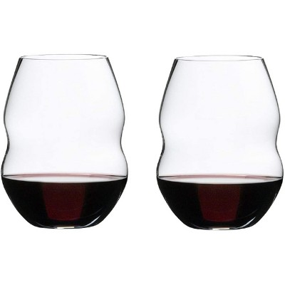Riedel 20.45 Ounce Swirl Red Wine Clear Crystal Stemless Tumbler Wine Glass Set Suited for Variety of Red and Pink Wines, Set of 2