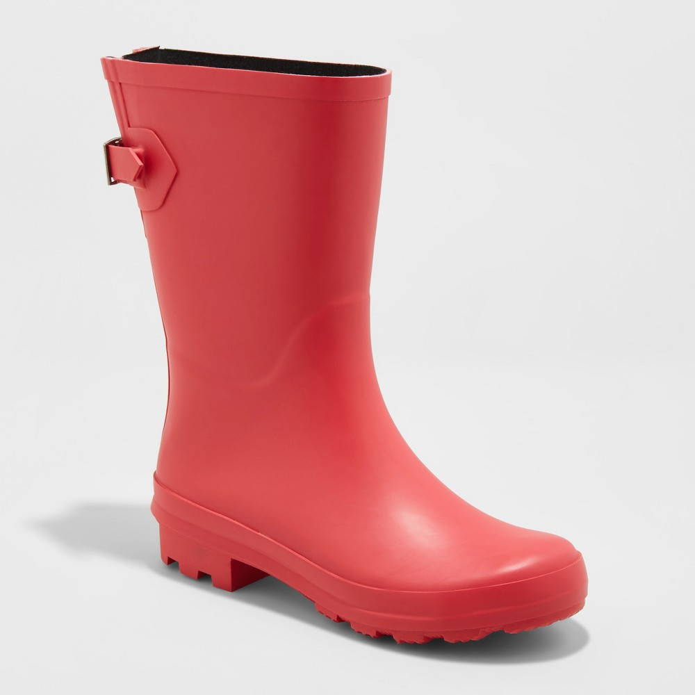Women's Vicki Mid Calf Rain Boots - A New Day Red 10