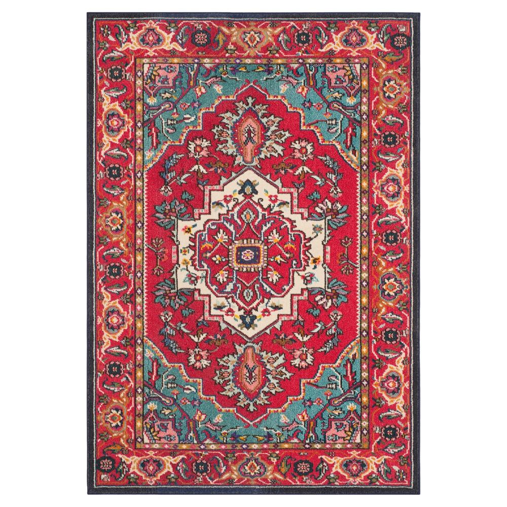 "Image of ""Essie Area Rug - Red/Turquoise (5'x7'7"""") - Safavieh"""