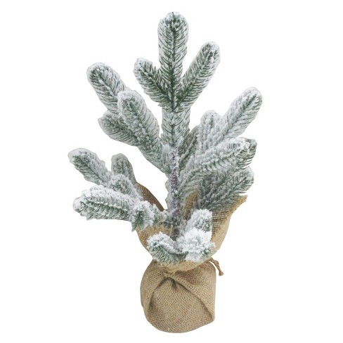 Image result for Burlap Wrapped Flocked Christmas Tree White