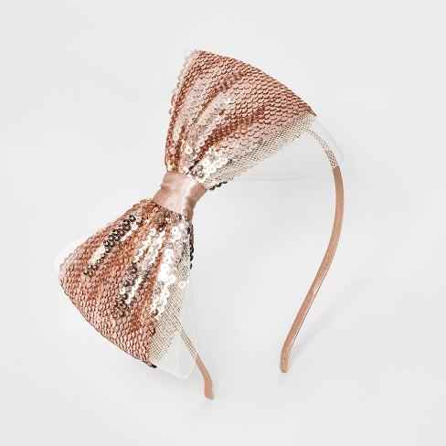 Girls Satin With Mesh And Sequin Bow Headband Cat Jack Rose Gold Target