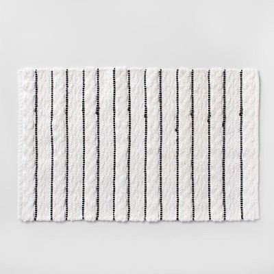 Striped Bath Rug White/Black - Opalhouse™