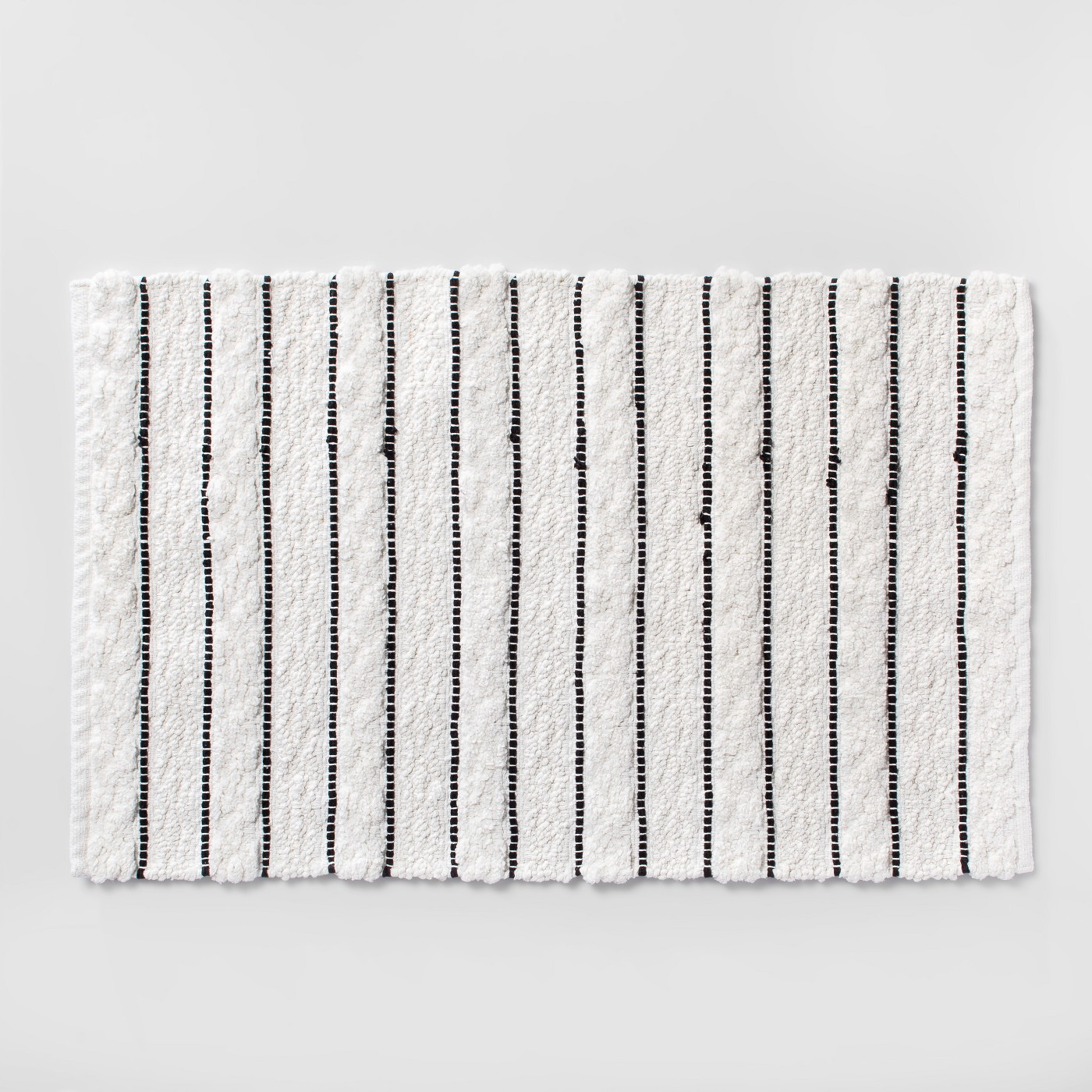 Striped Bath Rug White/Black - Opalhouse™ - image 1 of 2