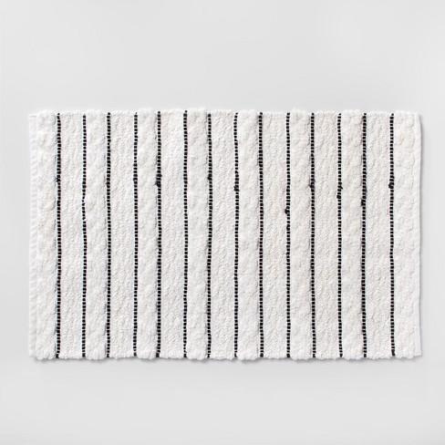 Striped Bath Rug White Black Opalhouse