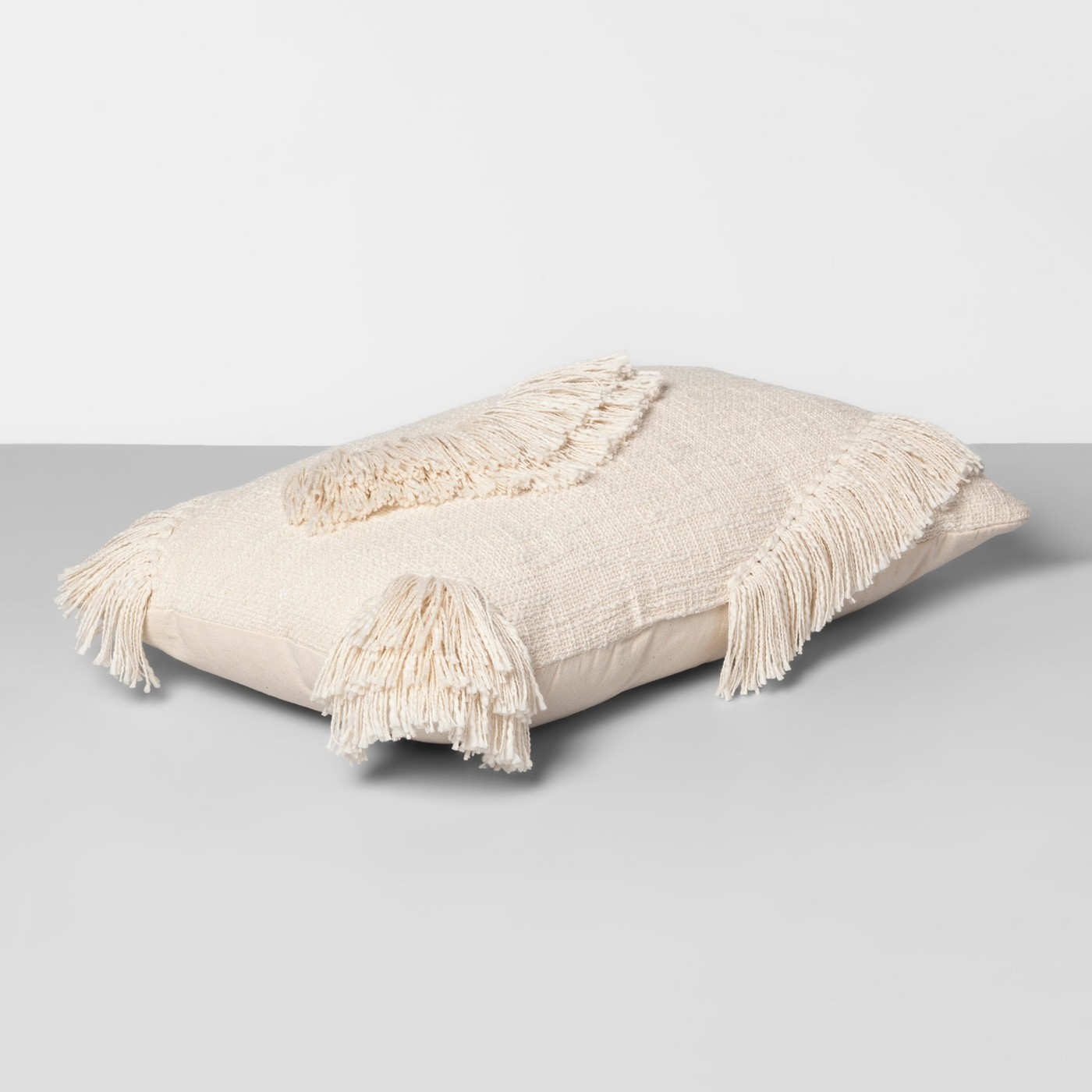 Textured Fringe Oversize Lumbar Throw Pillow Cream - Opalhouse™ - image 2 of 3