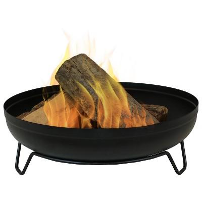 "23"" Black Steel Round Wood-Burning Fire Pit Sunnydaze Decor"