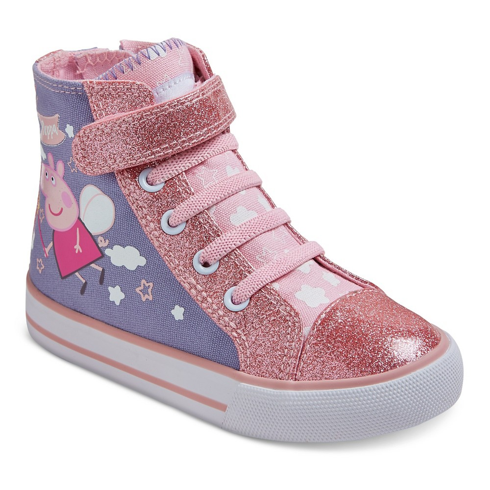 Toddler Girls' Peppa High Top Canvas Sneakers - Purple 6