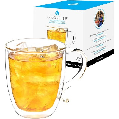 GROSCHE Cyprus Double Walled Glass mug for Coffee or tea, glass insulated cup, 16 fl oz. Capacity
