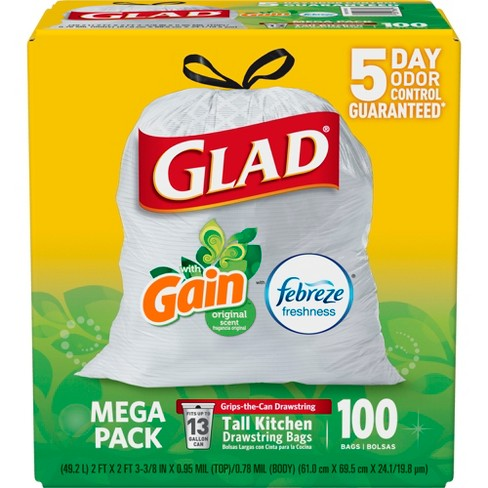 Glad OdorShield Febreze Freshness Scented Tall Kitchen Drawstring Trash Bags - 100ct - image 1 of 7