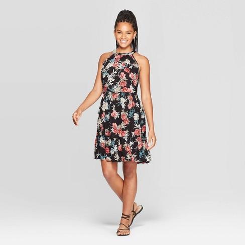 Women's Floral Print Sleeveless High Neck Sleeveless Tiered Shift Mini Dress - Xhilaration™ Black - image 1 of 2