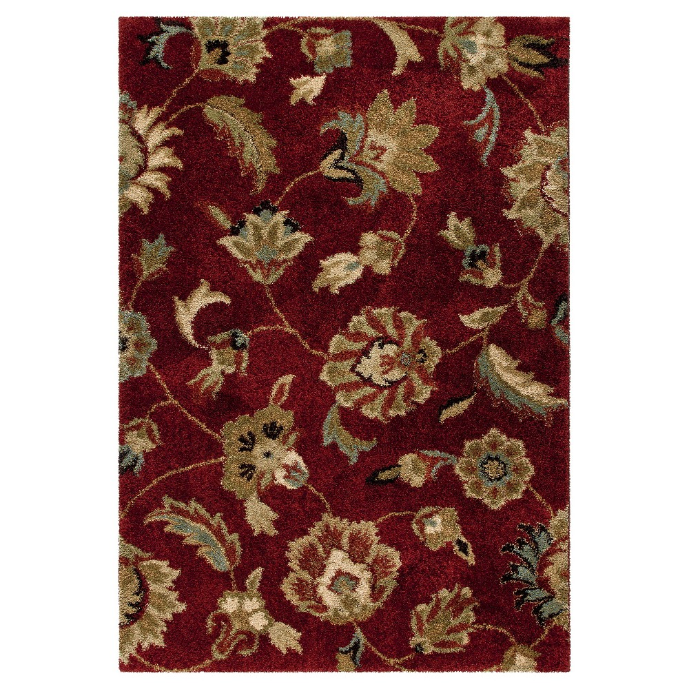 Red Botanical Woven Area Rug - (7'10