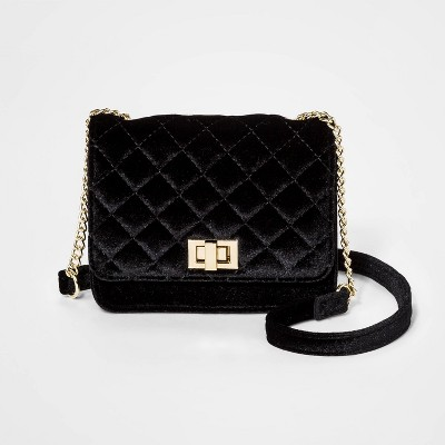 Girls' Velvet Quilted Crossbody Bag   Art Class™ Black by Art Class
