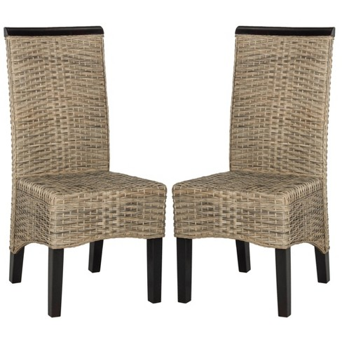 Set of 2 Ilya Wicker Dining Chair - Safavieh - image 1 of 4