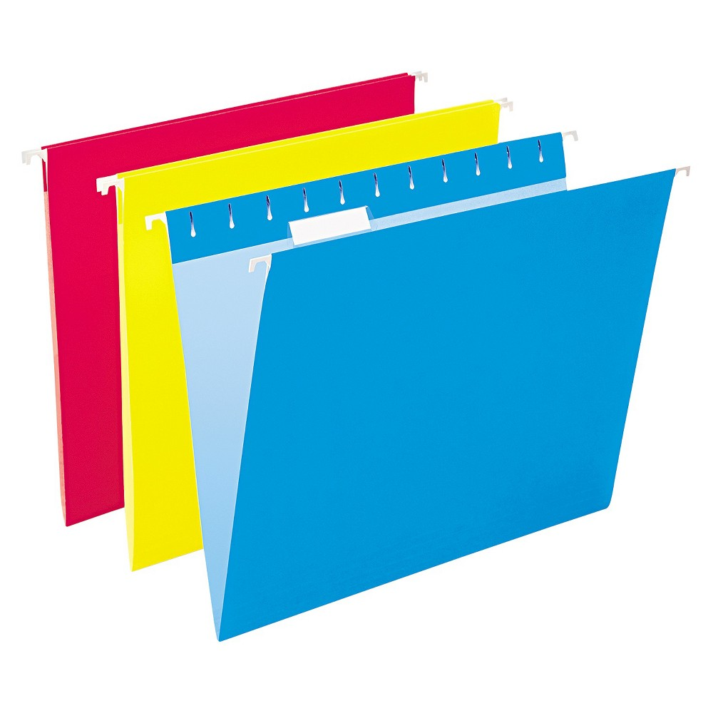 Pendaflex Hanging File Folders, 1/5 Tab, Letter, Assorted Colors, 25/Box, Blue/Yellow/Red