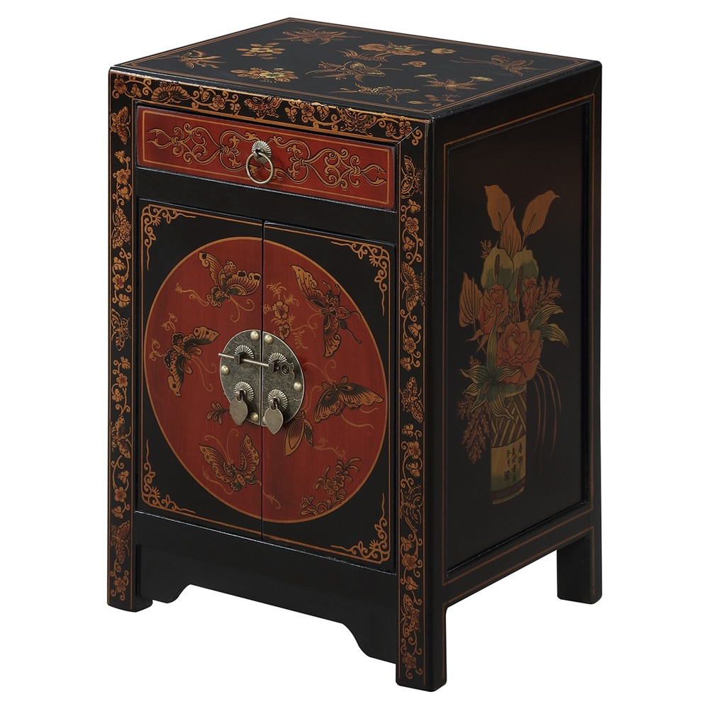 Touch of Asia 1 Drawer Cabinet End Table - Back/Red - Convenience Concepts, Black/Red
