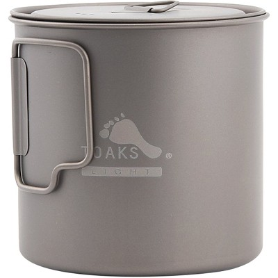 TOAKS Light Titanium 650ml Outdoor Camping Cook Pot POT-650-L
