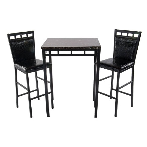 3pc Faux Marble Bistro and 2 Chairs - Home Source - image 1 of 3