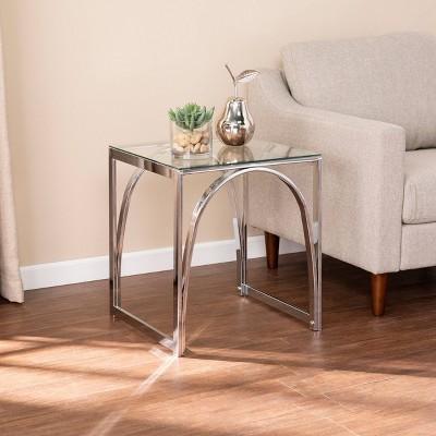Kalb Square Glass Top End Table Chrome - Aiden Lane