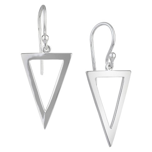 Women's Drop Dangle Earring Silver Plated Brass Rhodium Triangle - Silver - image 1 of 1