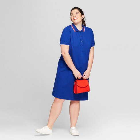 Women\'s Plus Size Polo T-Shirt Dress - Ava & Viv™ Blue 3X : Target