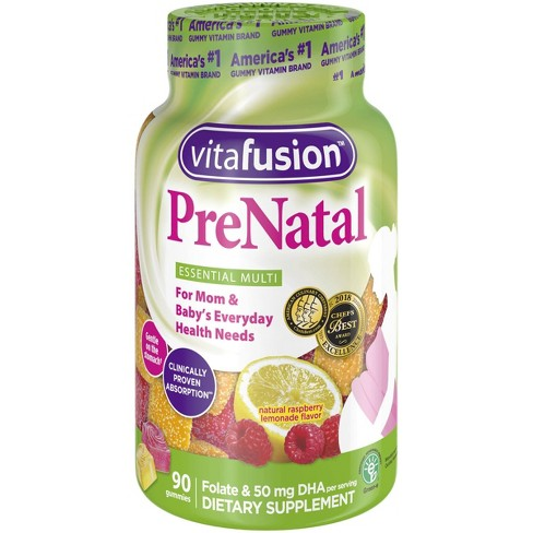 Vitafusion PreNatal Multivitamin Dietary Supplement Gummies - Lemon & Raspberry Lemonade - 90ct - image 1 of 4