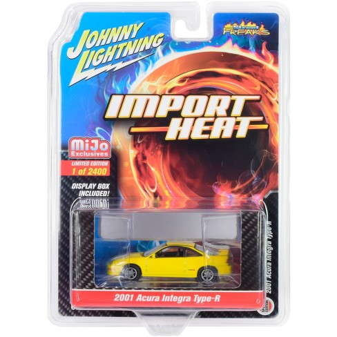 """2001 Acura Integra Type R Yellow """"Import Heat"""" Limited Edition to 2,400 pcs 1/64 Diecast Model Car by Johnny Lightning - image 1 of 1"""