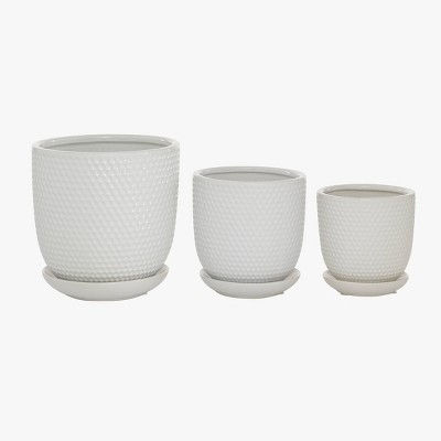 Set of 3 Ceramic Planter with Saucer Set White - Olivia & May