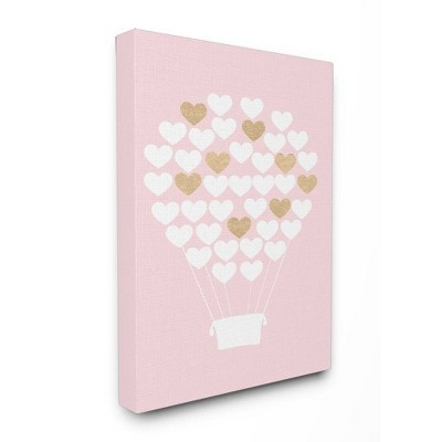 "16""x1.5""x20"" White Gold Pink Heart Hot Air Balloon Stretched Canvas Wall Art - Stupell Industries"