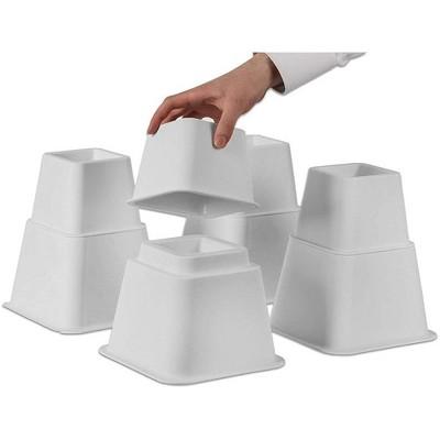 Homeitusa Adjustable Bed Risers or Furniture Riser Set of 4 Bed Riser (White)
