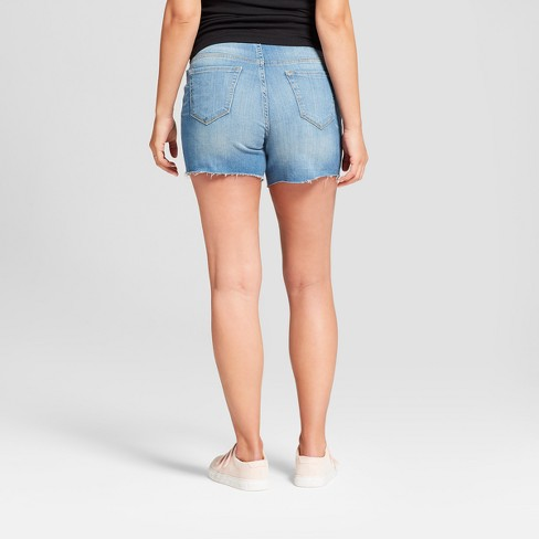 b7a4931885d68 Maternity Crossover Panel Midi Jean Shorts - Isabel Maternity By Ingrid &  Isabel™ Light Wash : Target