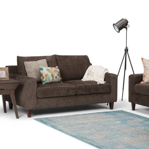 Calsy Loveseat Deep Umber Brown Chenille Look Fabric - Wyndenhall ...