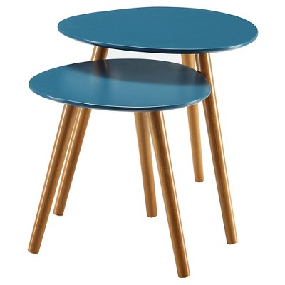 Oslo Nesting End Tables Blue/Natural - Breighton Home