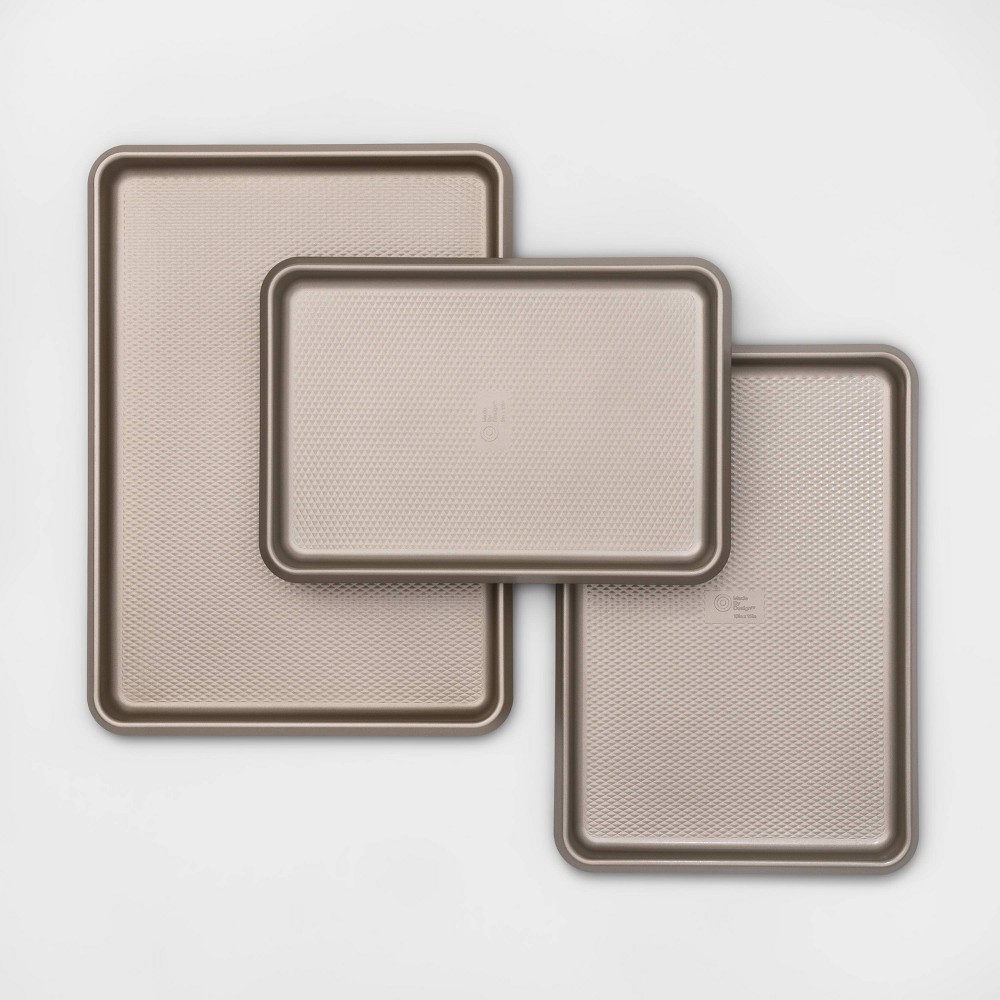 Image of 3pk Aluminized Steel Cookie Sheet Gold - Made By Design