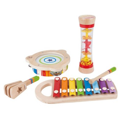Hape E8148 5 Piece Toddler Instrumental Beat Box Musical Set, Educational Wooden Music Toy Set for 18 Months and Older