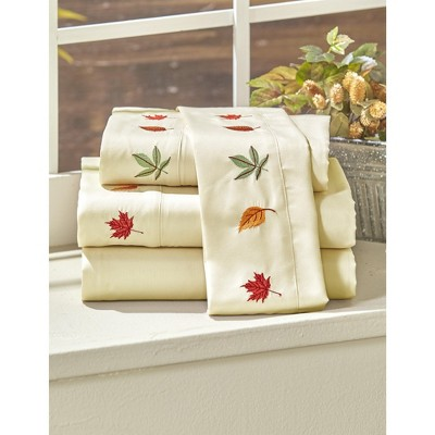 Lakeside Autumn Harvest Bed Sheet Set with Fall Leaves and Two Pillowcases