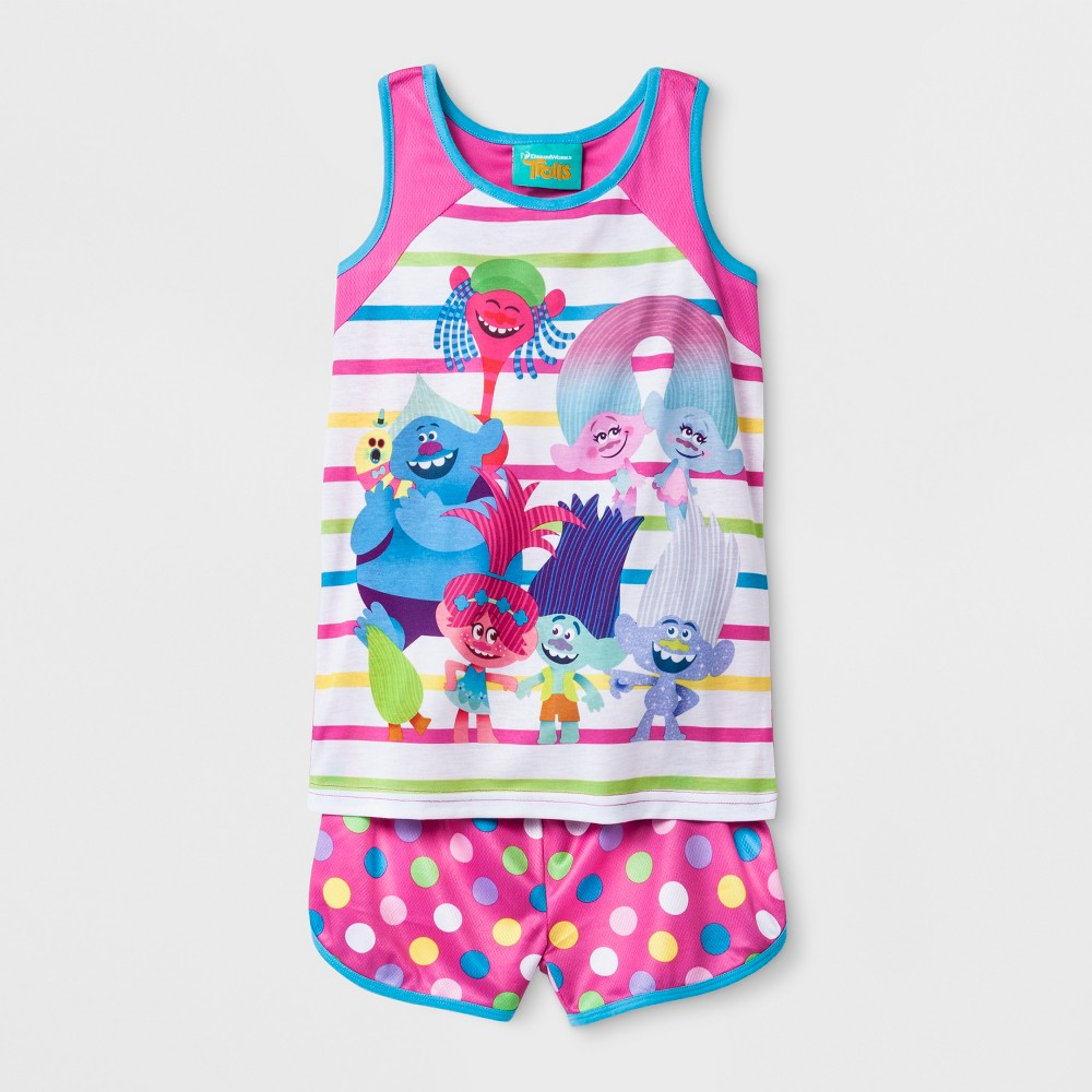Girls' Trolls Tank 2pc Pajama Set - Pink XS