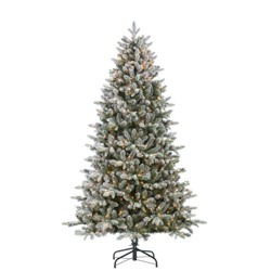 7.5ft Sterling Tree Company Full Flocked Natural Cut Flocked Mountain Fir Artificial Christmas Tree