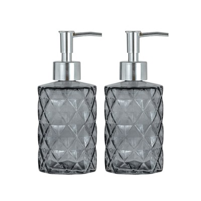 Amici Home Diamond Soap Pump Gray, Set of 2, 12oz
