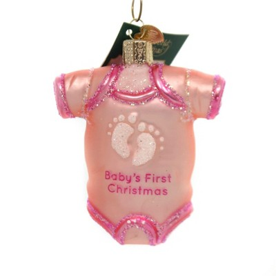 """Old World Christmas 3.5"""" Pink Baby Onesie First Christmas  -  Tree Ornaments"""