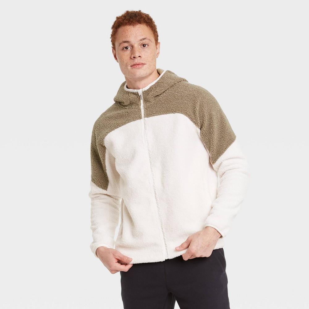 Men 39 S Fleece Full Zip Sweatshirt All In Motion 8482 Cream S