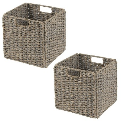 mDesign Woven Seagrass Home Storage Basket for Cube Furniture, 2 Pack