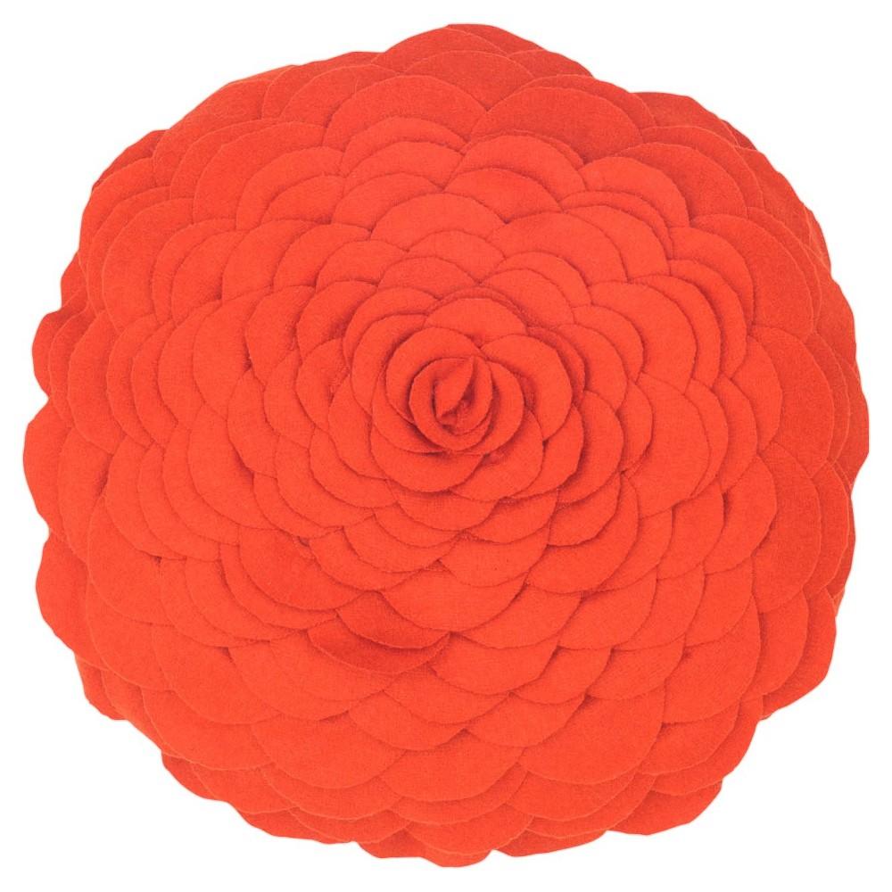 Orange Flower Throw Pillow 14 Round - Rizzy Home